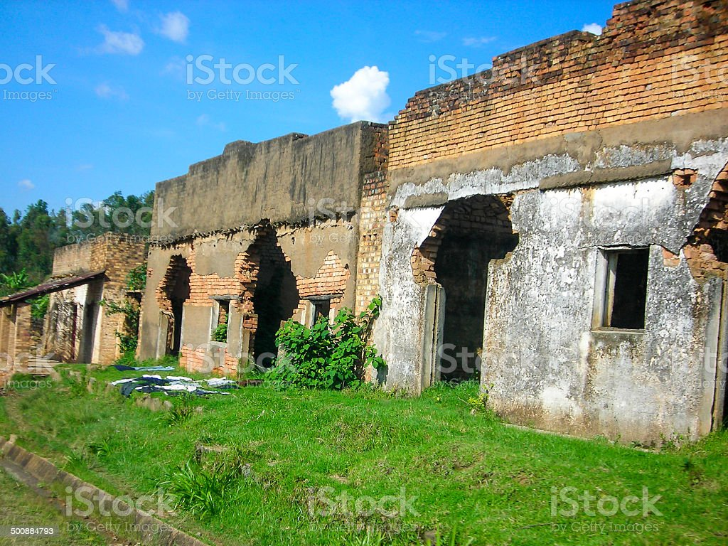 Abandoned Buildings from the Violence of the Genocide Rwanda stock photo