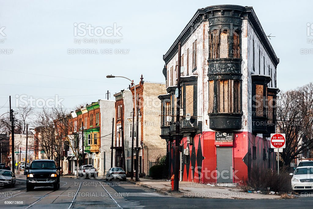 Abandoned buildings on Germantown Avenue, Philadelphia. stock photo