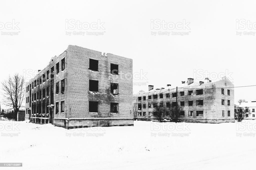 Abandoned buildings - Sompa, Estonia stock photo