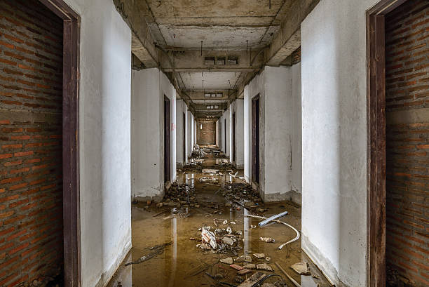 abandoned buildings were flooded. - flooded room stock photos and pictures