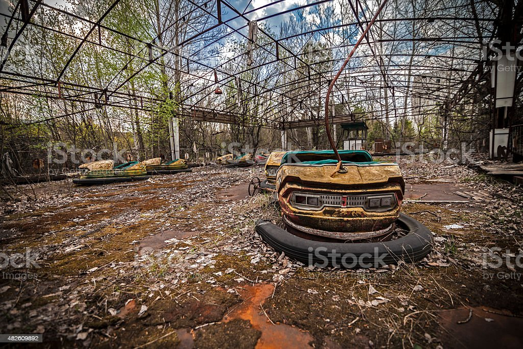 Abandoned bumper cars in Pripyat stock photo