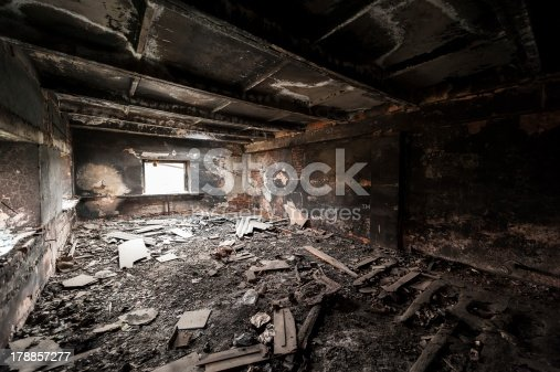 istock Abandoned burned out building 178857277