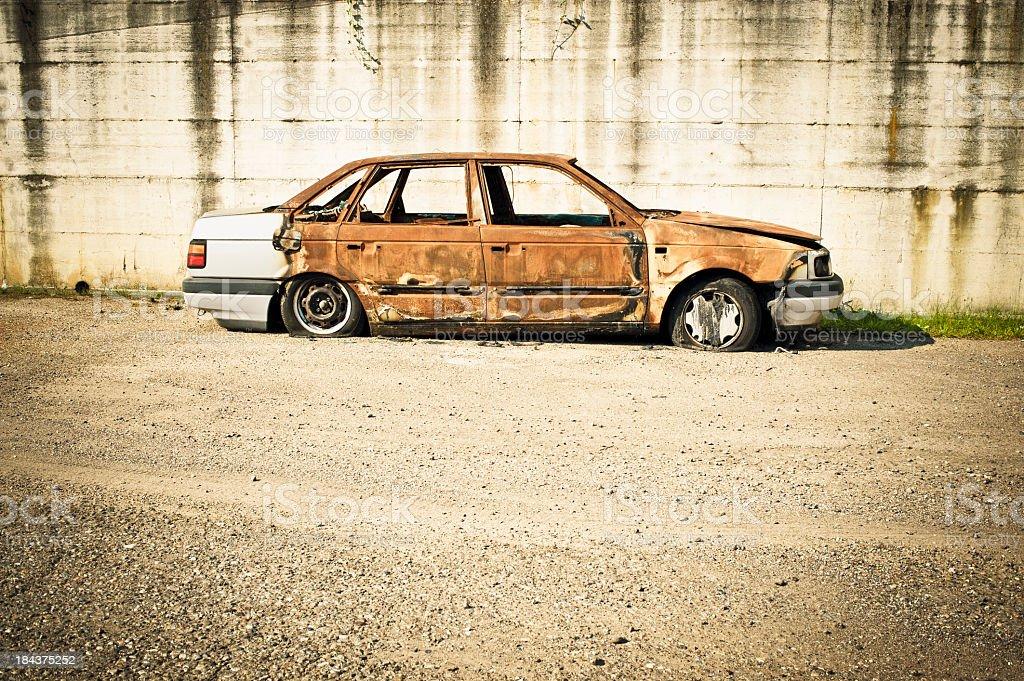 Abandoned Burnt Car royalty-free stock photo