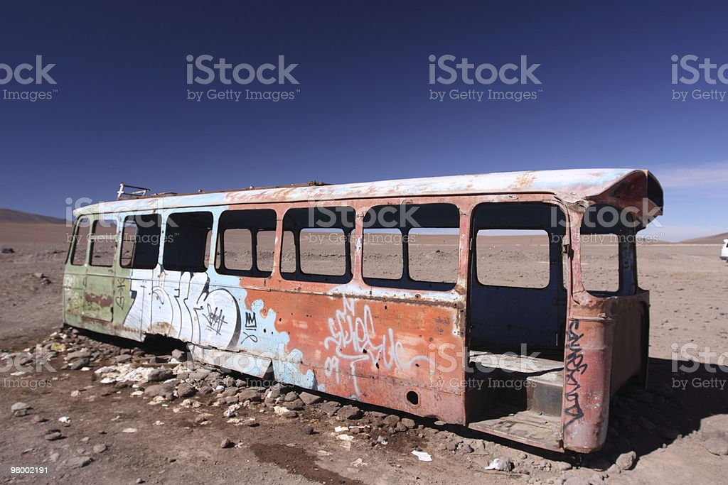 Abandoned Bus in Bolivia Altiplano royalty-free stock photo