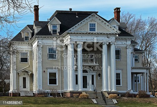 Taunton, Massachusetts - April 2, 2019: Abandoned but still beautiful house in Taunton, Massachusetts