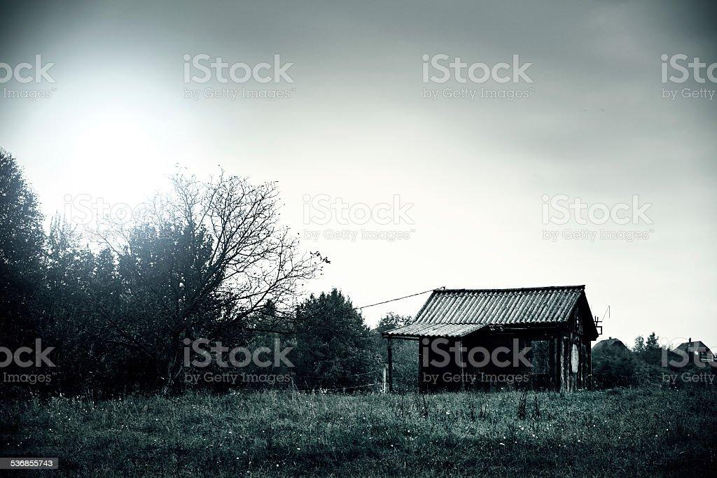 Abandoned cabin stock photo