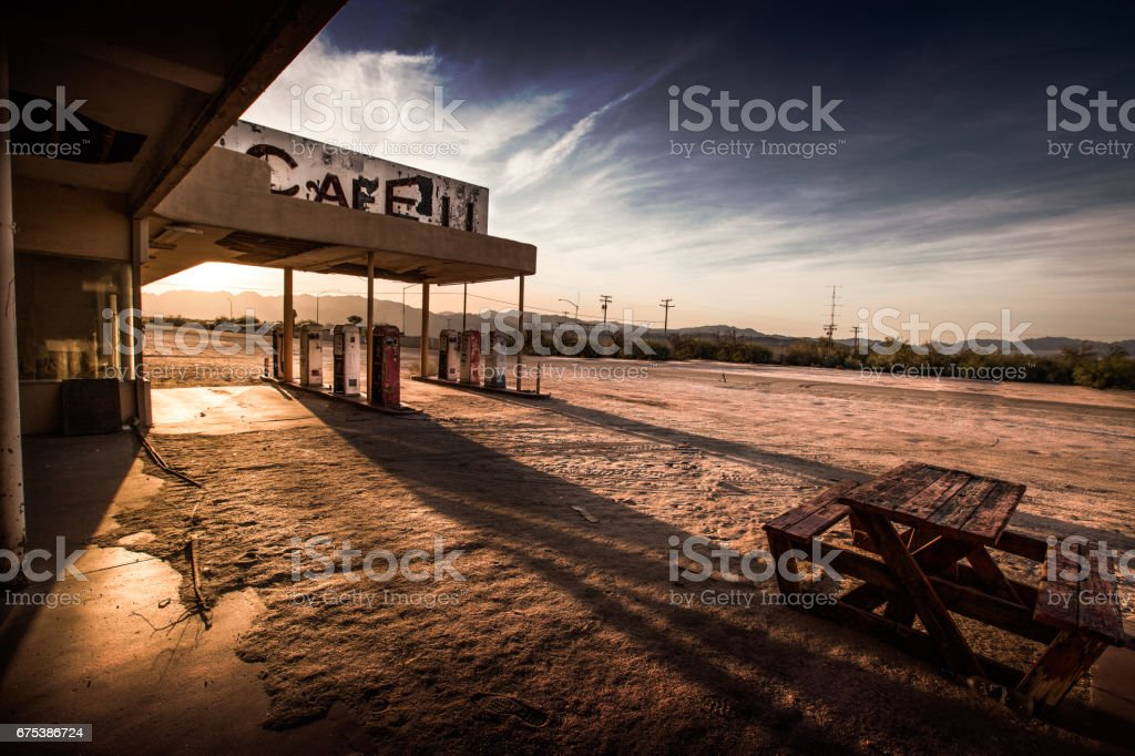 Abandoned Cafe in the Desert stock photo