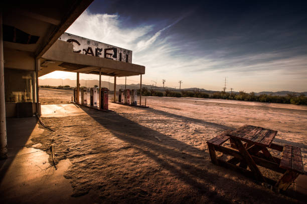 abandoned cafe in the desert - abandoned stock photos and pictures