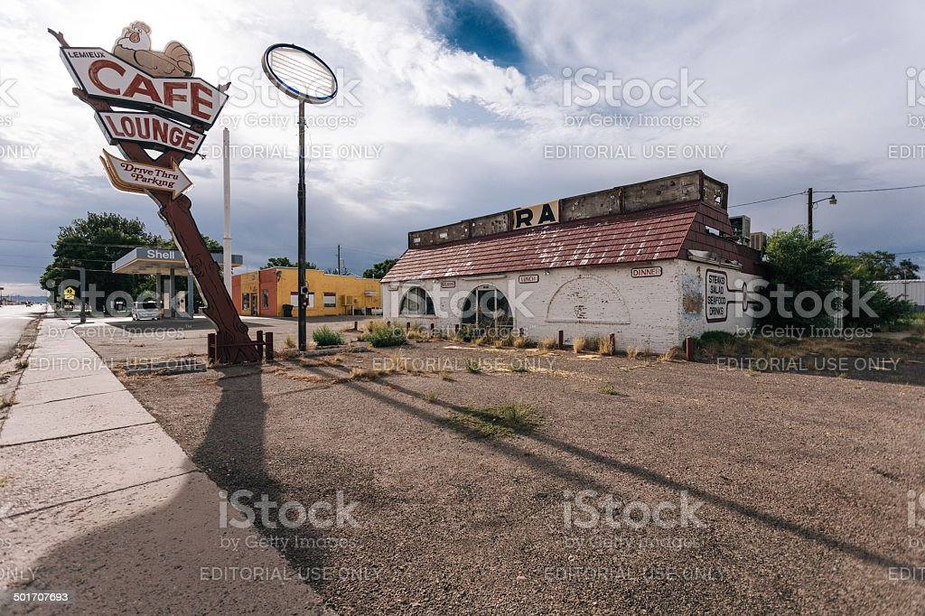 Abandoned Cafe on Route 66, USA stock photo