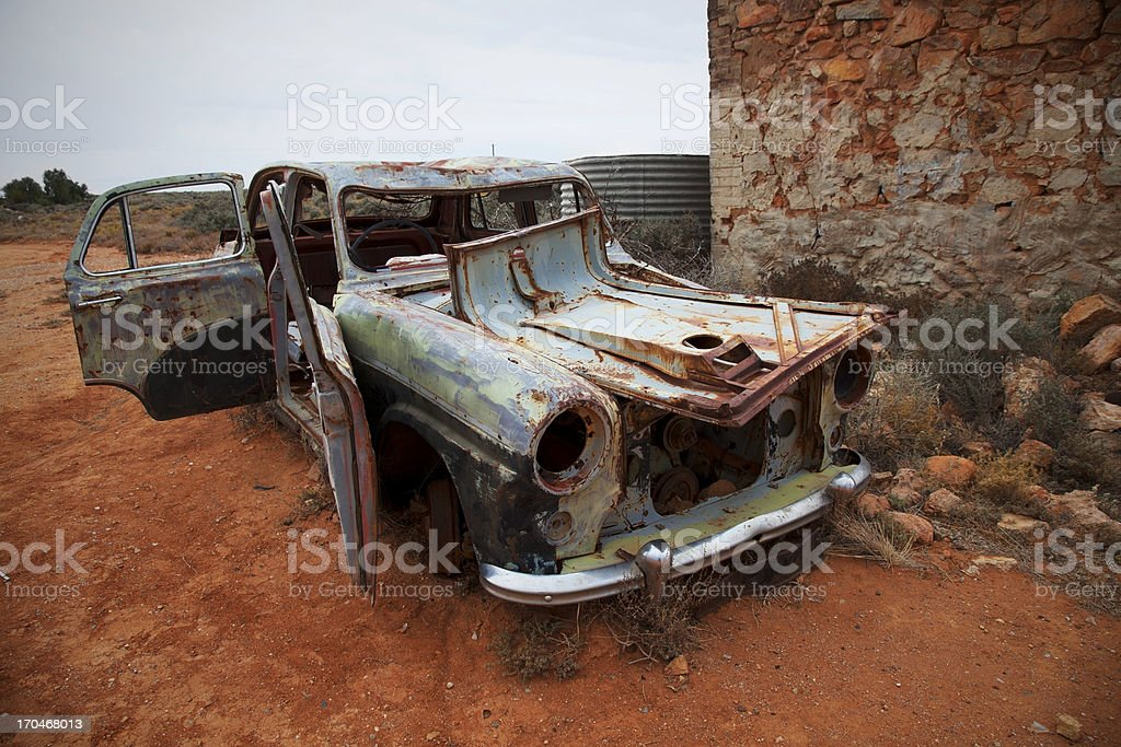 Abandoned car at Silverton, Australia stock photo