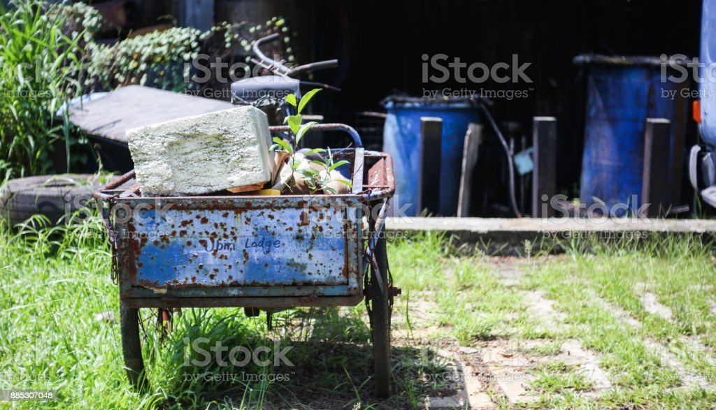 Abandoned Cart on the Island of Pulau Ubin stock photo