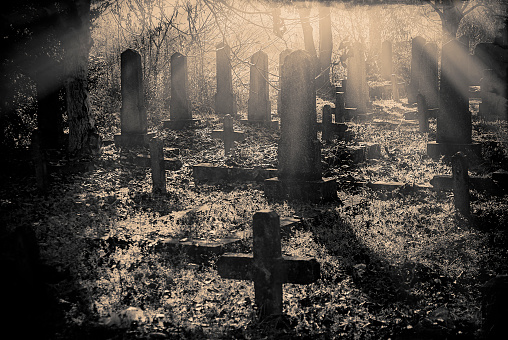 Abandoned cemetery at sunset monochrome