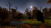 Abandoned swamped cemetery with black ancient gravestones in a haunted autumn forest under night sky with full moon. Halloween 3D illustration from my own 3D rendering file.