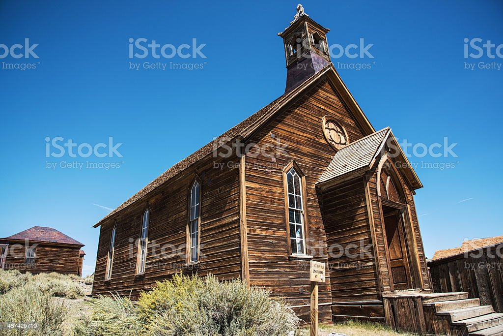 Abandoned Church in a Western Ghost town, Bodie California stock photo