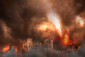 Abandoned city and rusted building burned in a flaming fire, concept of war and destroyed city
