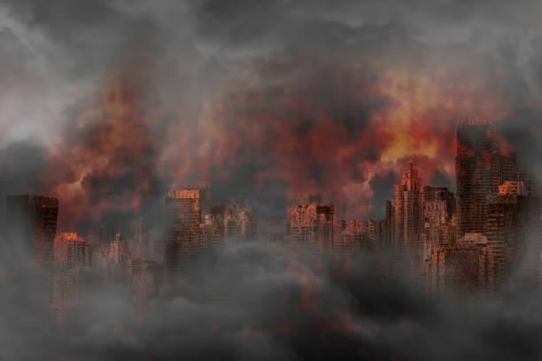 Verlassene Stadt und verrosteten Gebäude in ein flammendes Feuer verbrannt – Foto