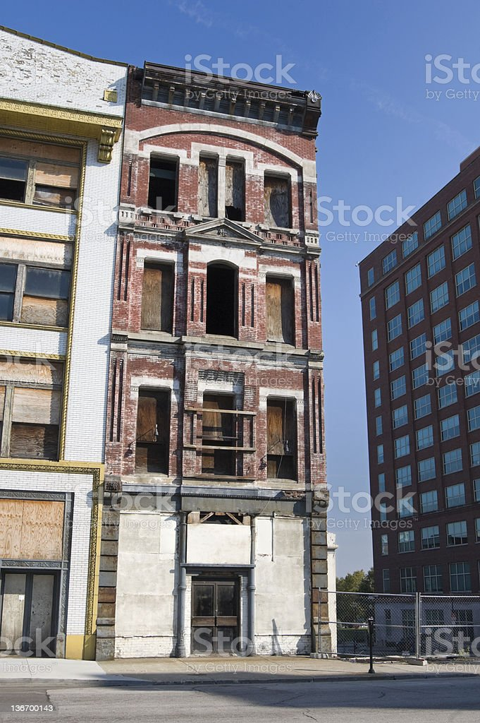 Abandoned City Buildings, Urban Blight in Old Downtown royalty-free stock photo