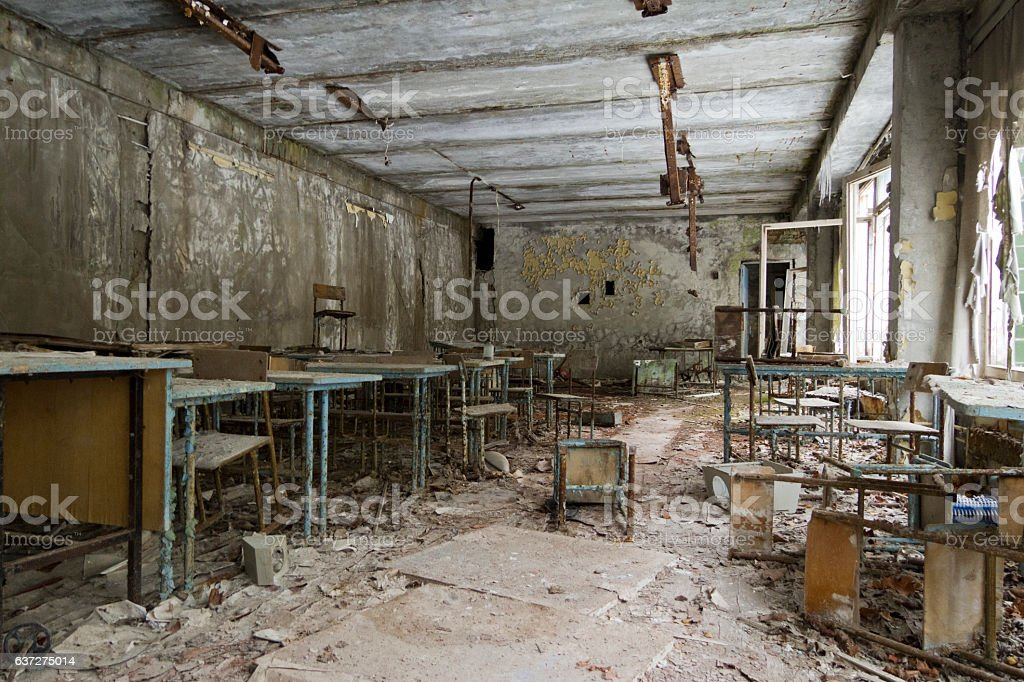 Abandoned Classroom in a Pripyat School stock photo