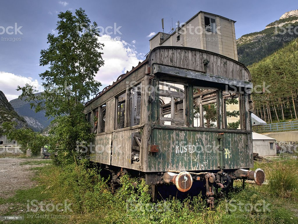 Abandoned Coach in the old Canfranc Railway Station royalty-free stock photo