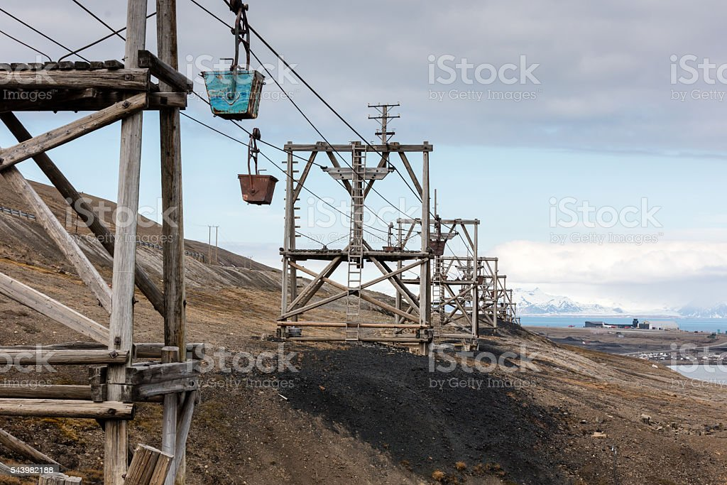 Abandoned coal cable cars and tramway, Longyearbyen, Svalbard, Norway stock photo