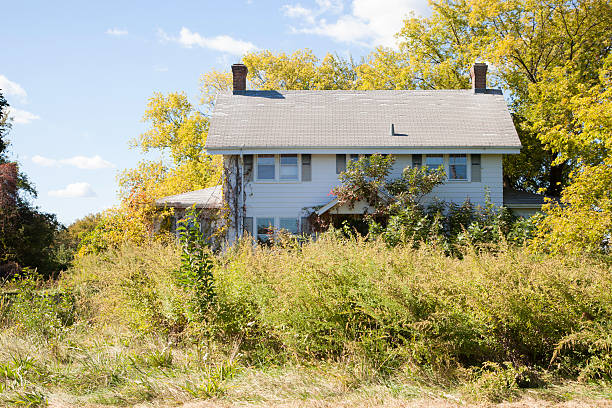 Abandoned Colonial Style House stock photo
