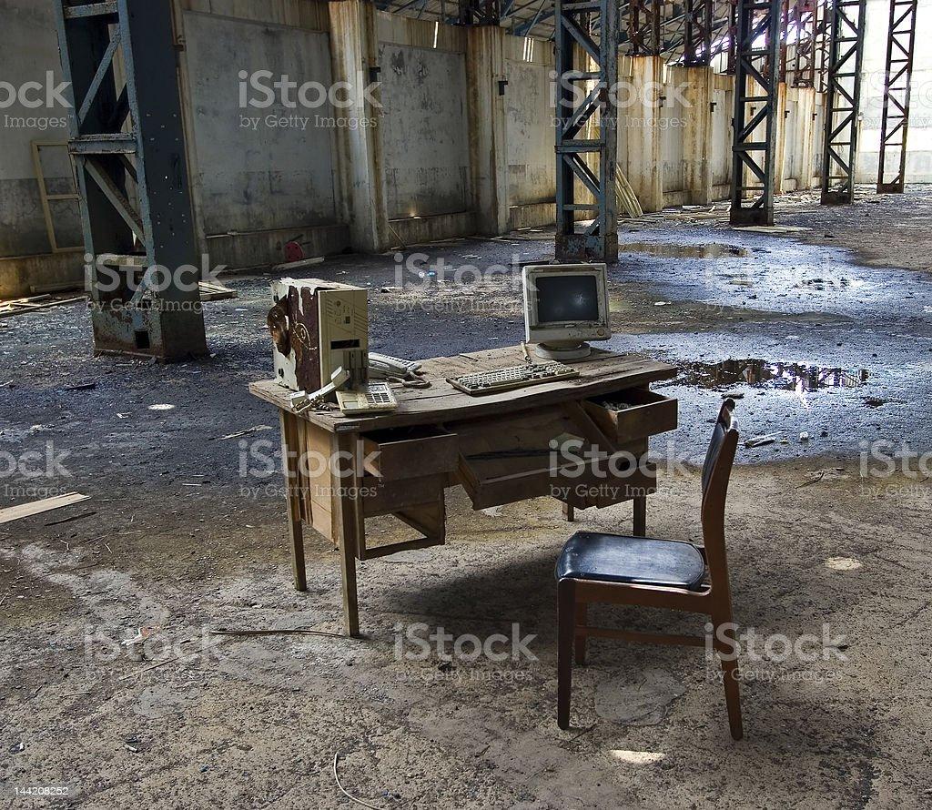 Abandoned computer station stock photo