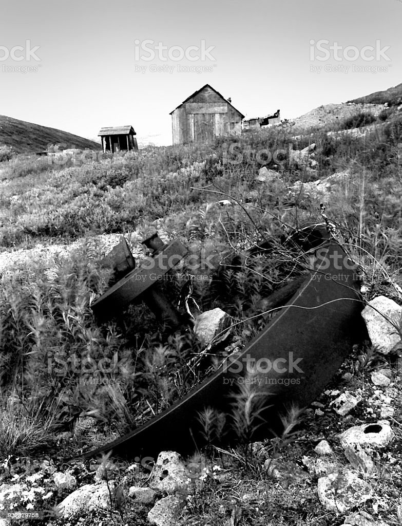 Abandoned Conrad Mine, near Carcross, Yukon stock photo