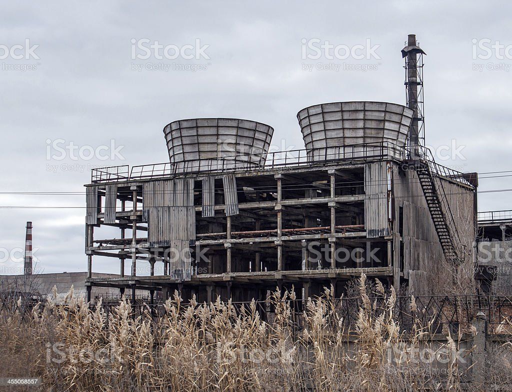 Abandoned cooling tower royalty-free stock photo