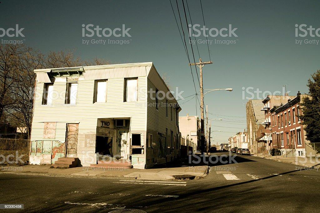 abandoned corner building stock photo