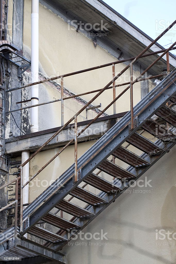 Abandoned Damaged Industrial Factory Stairs royalty-free stock photo