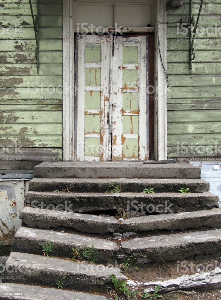 Abandoned decaying structure. stock photo