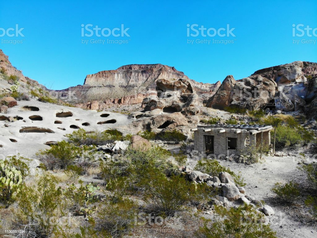 Abandoned desert dwelling in Texas Mountains - Aerial View 3 stock photo