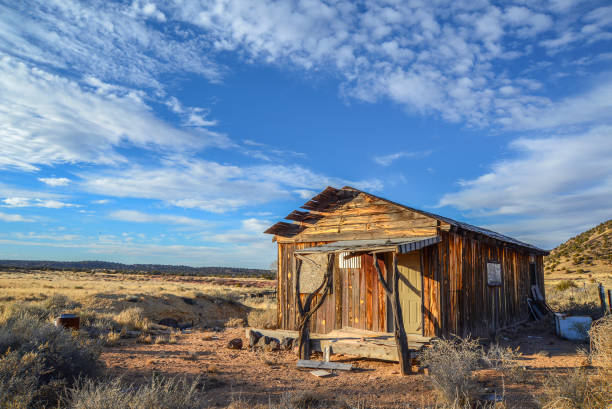 Abandoned desert shack stock photo
