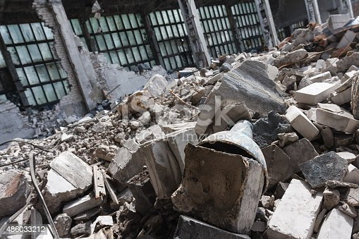 istock Abandoned destroyed factory building, industrial background 486033212