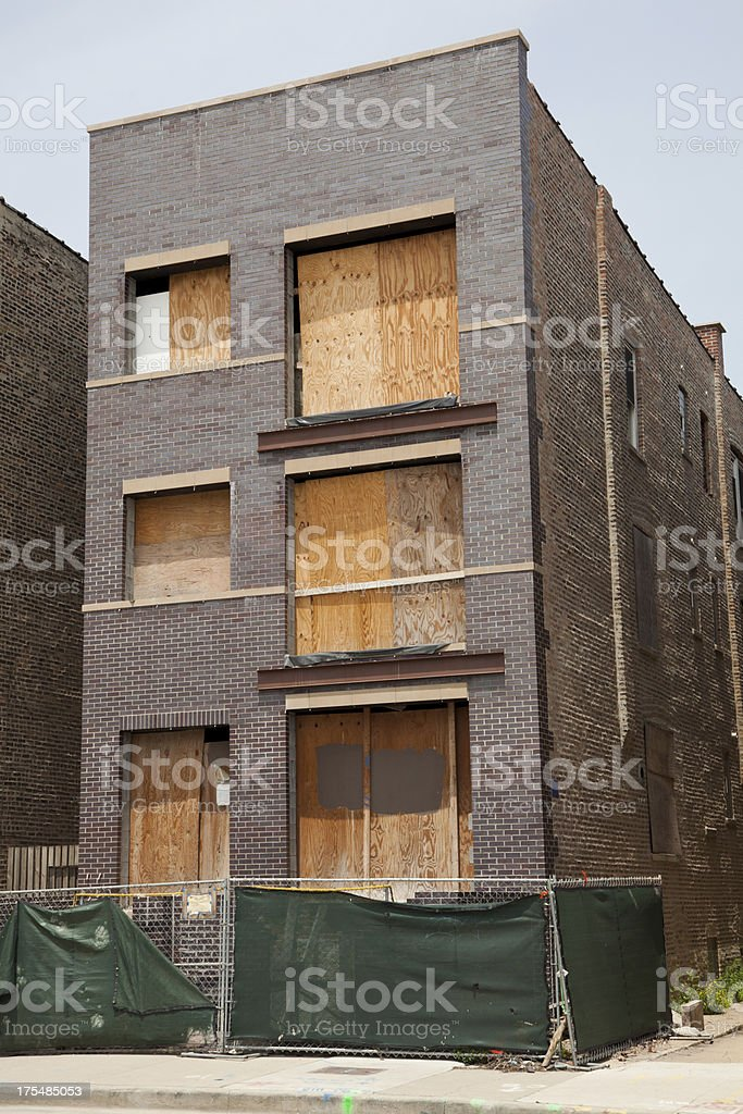 Abandoned detached house in Chicago stock photo