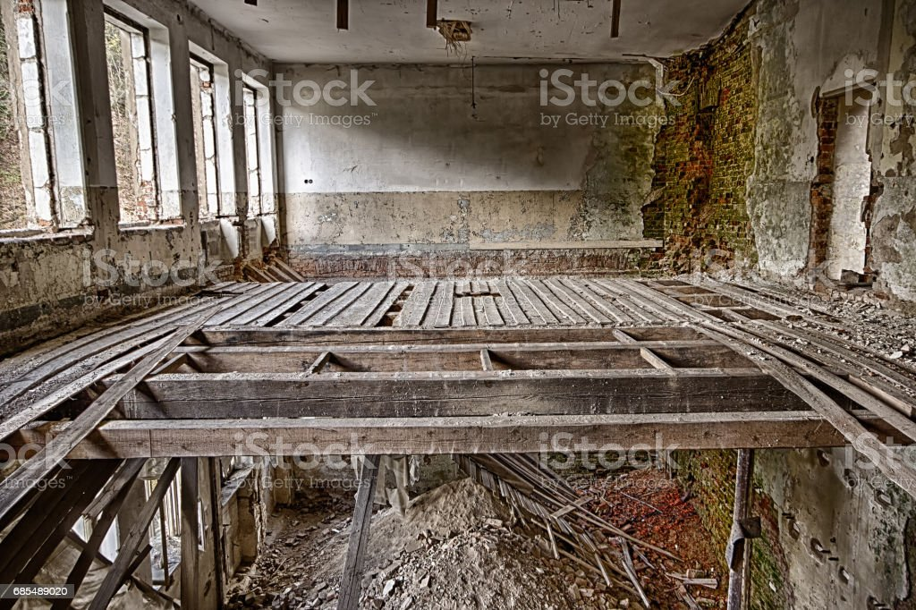 Abandoned devastated room stock photo