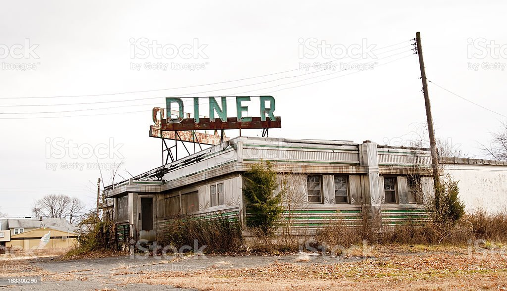 Abandoned Diner stock photo