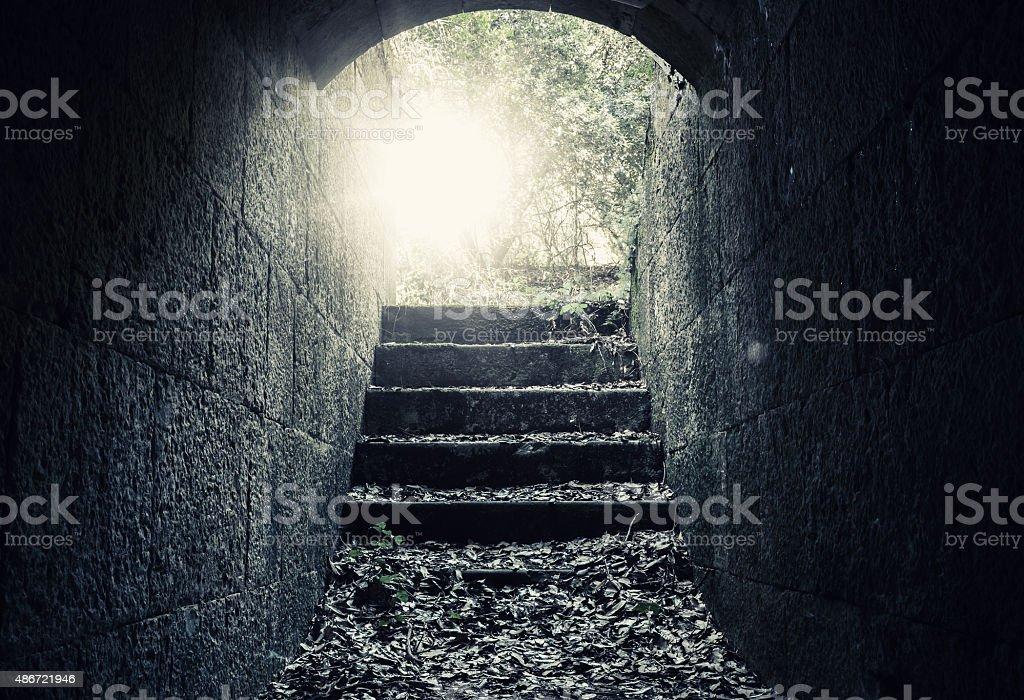 Abandoned empty dark concrete tunnel interior stock photo