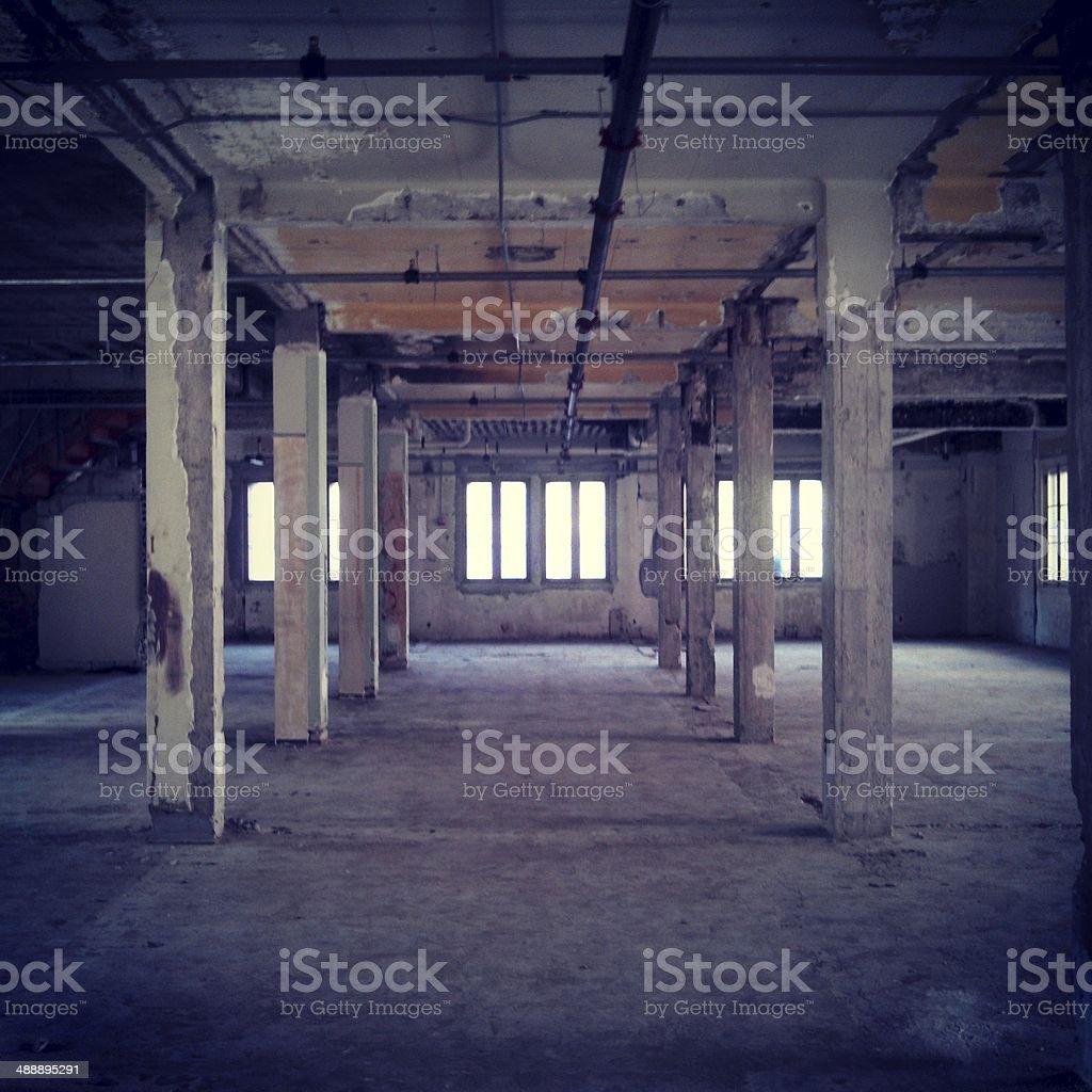 Abandoned Empty Warehouse Room Interior stock photo