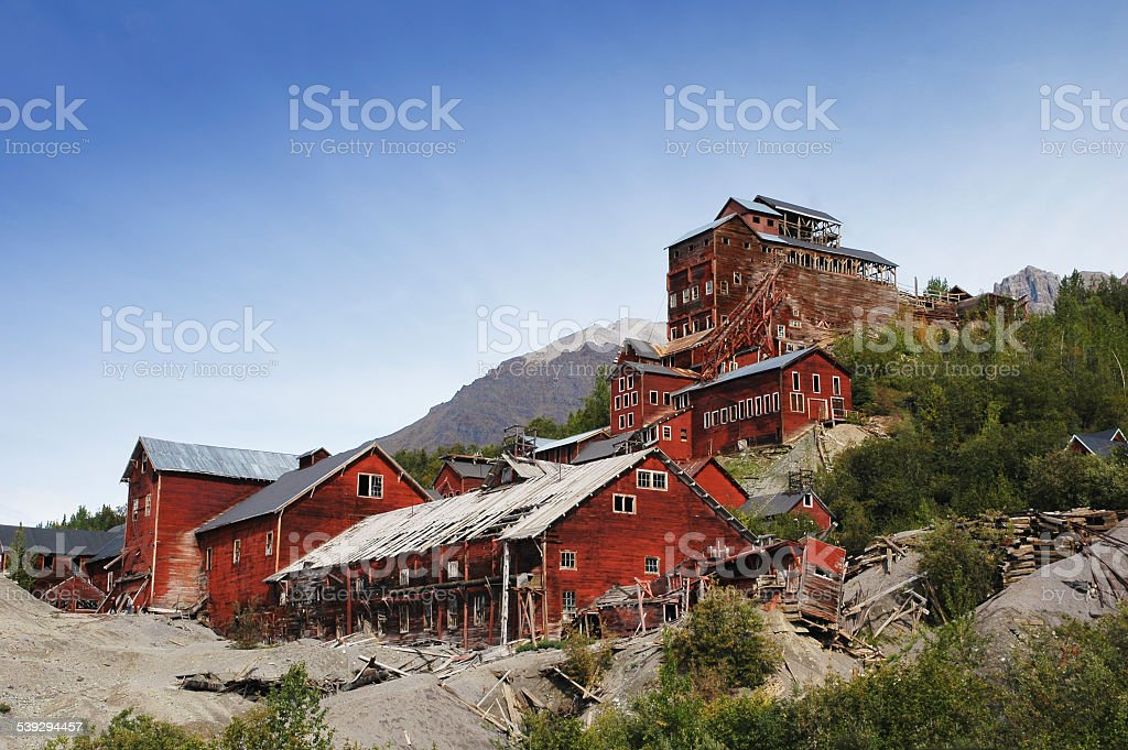 Abandoned factories of  historical Kennecott Copper Mine,Wrangell Mountains,Alaska stock photo