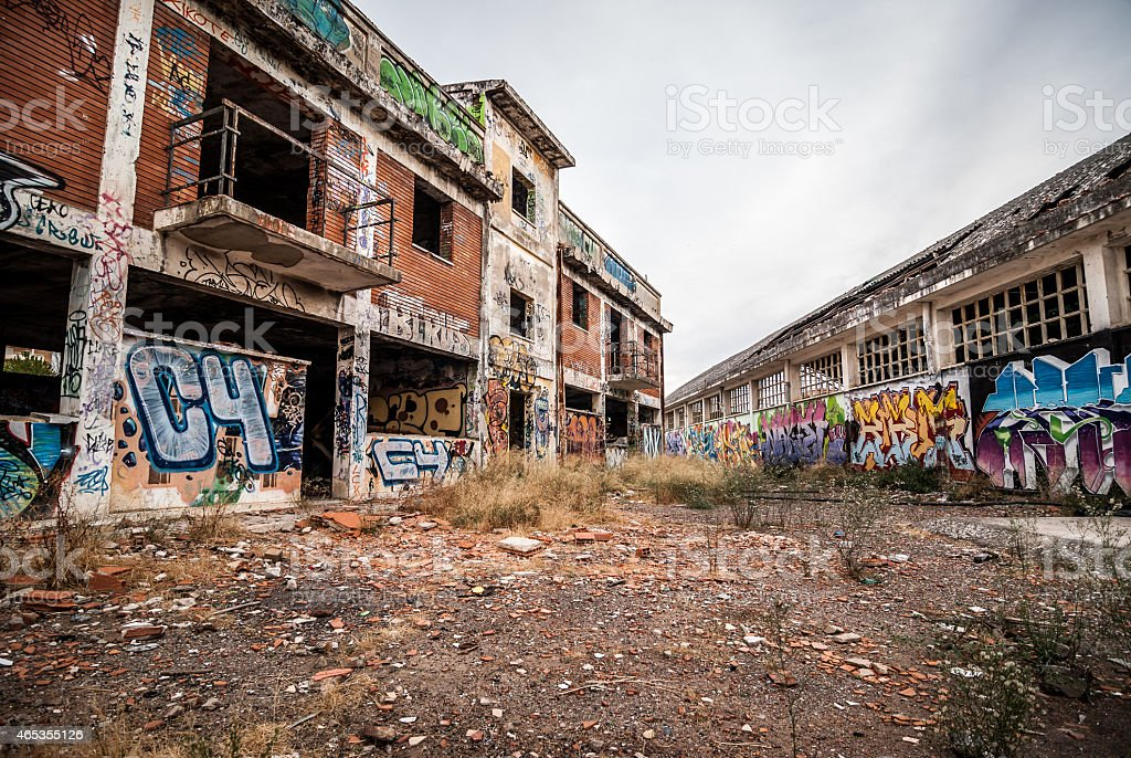 abandoned factory, destroyed with graffiti on the walls stock photo
