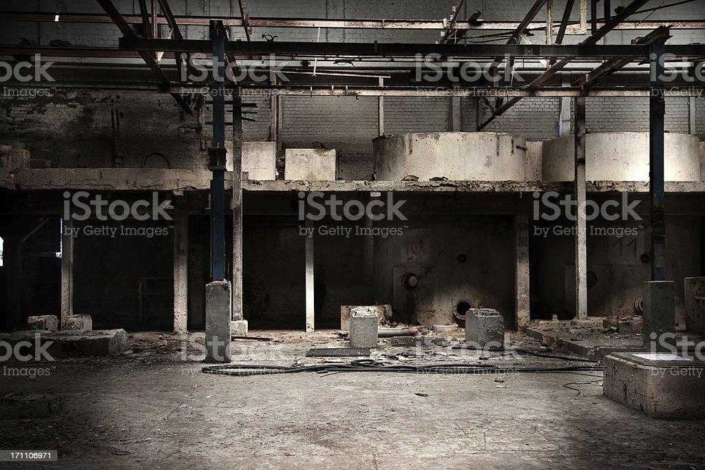 Abandoned factory hall royalty-free stock photo
