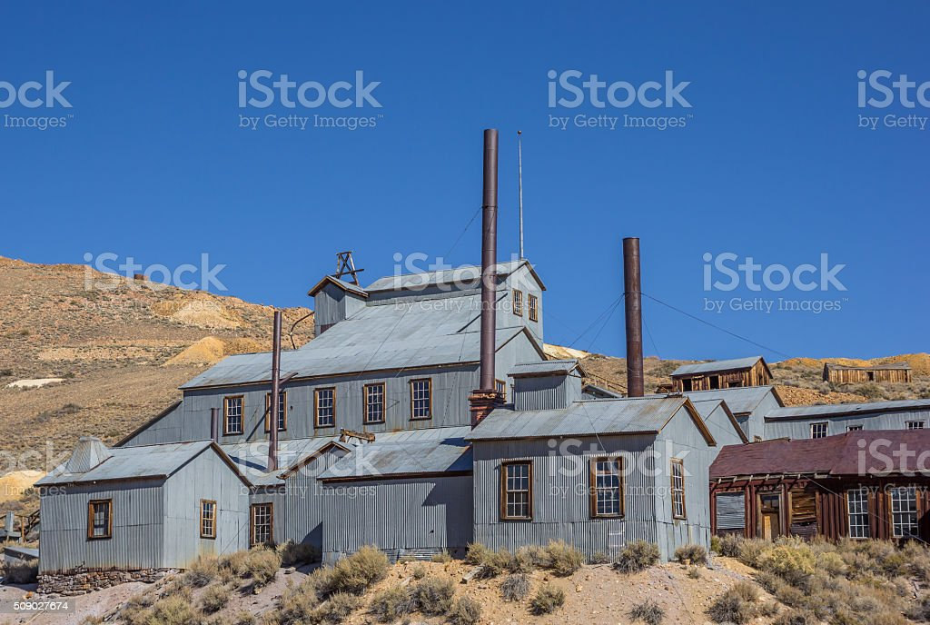 Abandoned factory in Bodie State Park stock photo