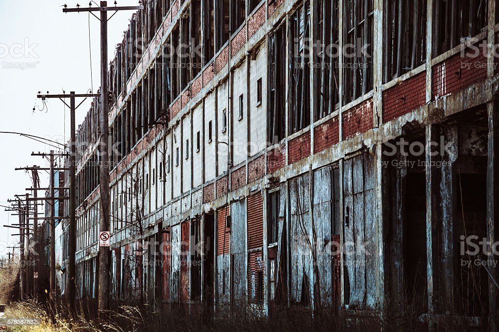 Abandoned factory in Detroit. stock photo