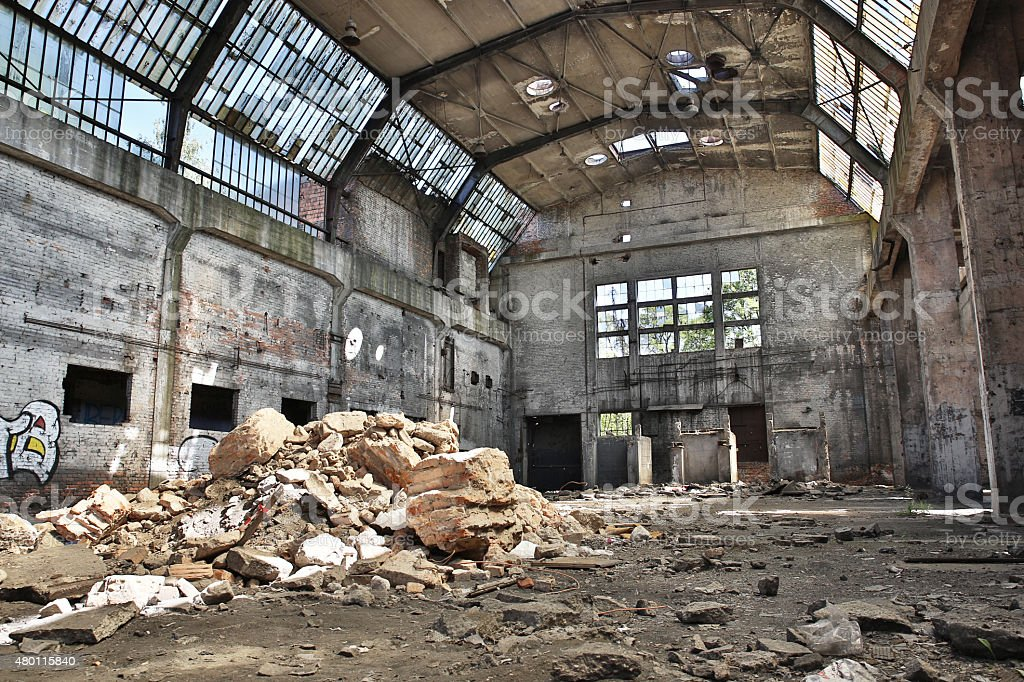 abandoned factory, industrial background stock photo