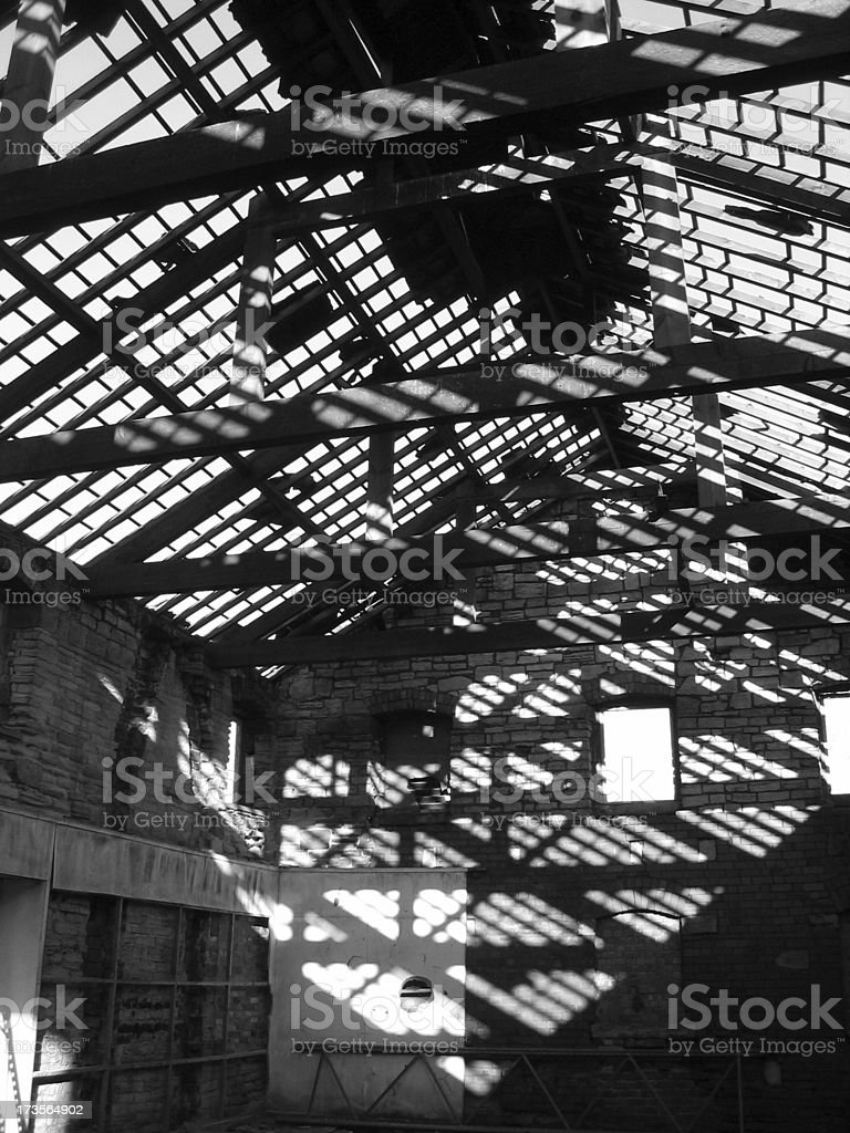 Abandoned factory - roof gone royalty-free stock photo