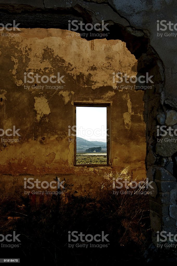 abandoned factory - room with windows royalty-free stock photo