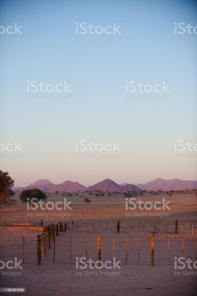 Pink Namibian Landscape at sunrise Namib Rand Namibia Africa