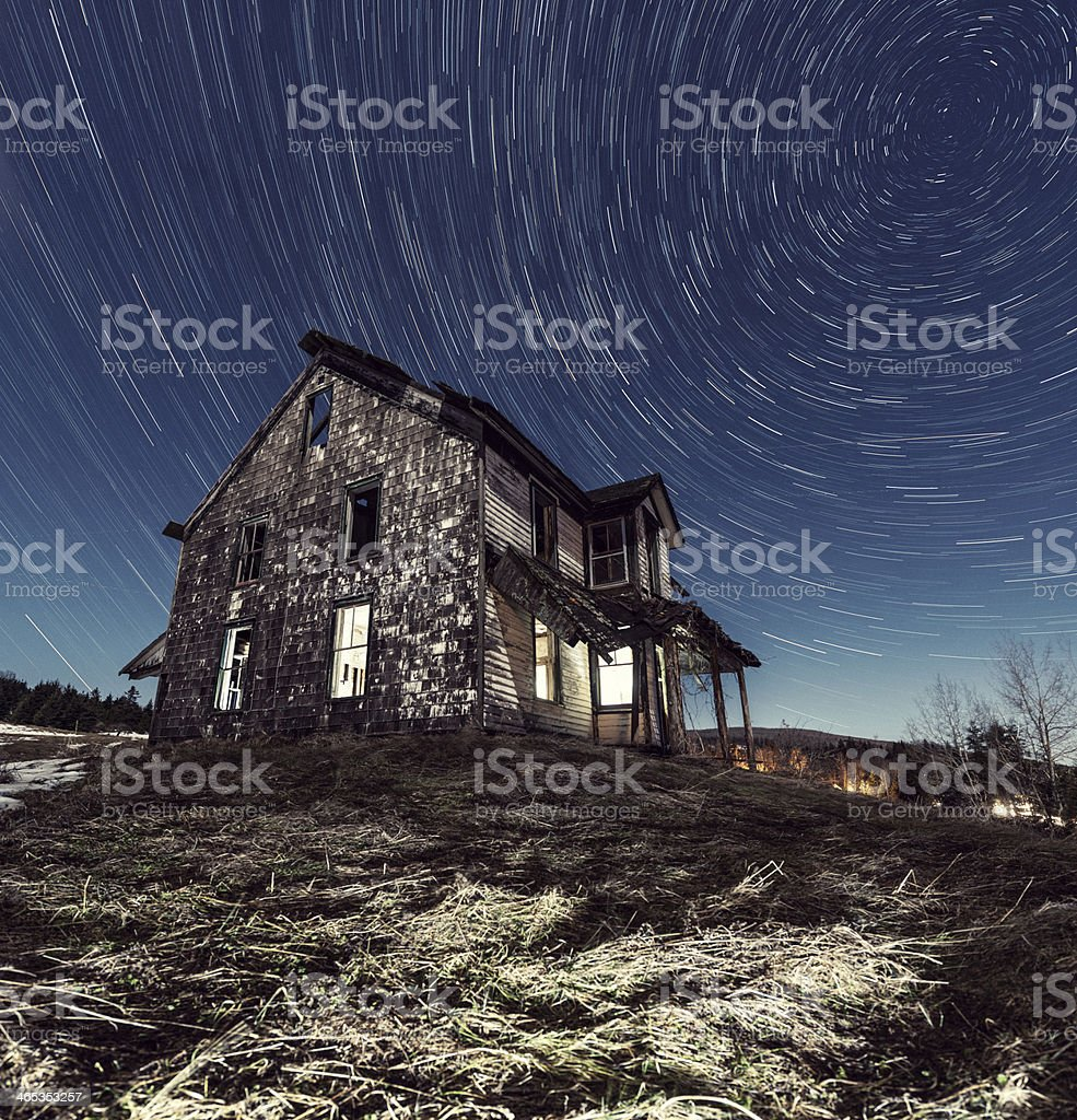 Abandoned farm house in Nova Scotia at night royalty-free stock photo