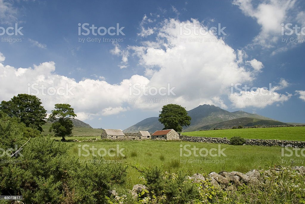 Abandoned farm in the Mourne Mountains stock photo